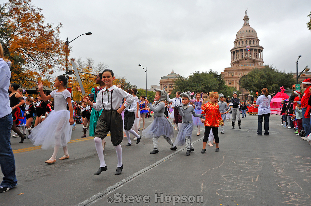 Nutcracker ballet dancers at the 20th Annual Chuy's Children Giving to Children Parade, Austin, Texas, November 29, 2008. Chuy's is a Tex Mex restaurant in Austin.  The Children Giving to Children Parade features gifts given by the viewers to Operation Blue Santa.