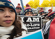 Pro-life activists take part in a rally before the March for Life in Washington, DC on January 22, 2016. Activists from across the nation participated in the annual pro-life rally protesting abortion and the 1973 Roe v. Wade Supreme Court decision legalizing abortion.  Photo by Molly Riley/UPI