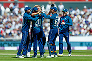 England ODI  team celebrate the second wicket of the day for England ODI all rounder Sam Curran  during the 5th One Day International match between England and Australia at Old Trafford, Manchester, England on 24 June 2018. Picture by Simon Davies.