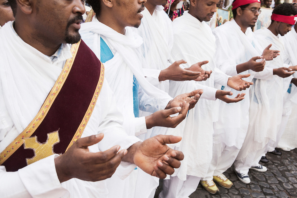 ROME, ITALY - 23 NOVEMBER 2014: Eritrean refugees of the Orthodox Tewahedo Church celebrate the fest of St-Michael to celebrate in Rome, Italy, on November 23th 2014.