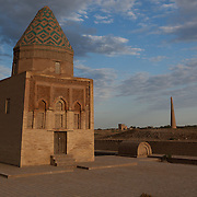 A mausoleum stands as one of the few remaining buildings in the ruins of Konye-Urgench, Turkmenistan