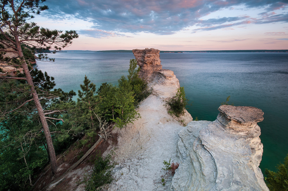 The view from atop Miner's Castle looking west.<br /> Pictured Rocks National Lakeshore