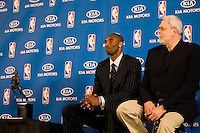 06 May 2008: Guard Kobe Bryant of the Los Angeles Lakers sits with head coach Phil Jackson before speaking to the media after winning the 2008 Most Valuable Player award in Los Angeles, CA.