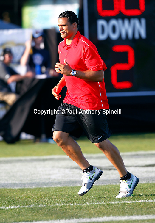 Former Kansas City Chiefs and Atlanta Falcons tight end Tony Gonzalez coaches the Gamers team at the EA Sports Madden NFL 11 Launch celebrity and NFL player flag football game held at Malibu Bluffs State Park on July 22, 2010 in Malibu, California. (©Paul Anthony Spinelli)