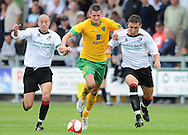 Dartford - Saturday July 11 2009: Owain Tudur Jones of Norwich City and Danny Dafter & James White of Dartford during the friendly match at Princes Park. (Pic by Alex Broadway/Focus Images)..