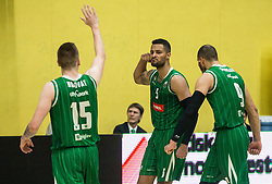 Gregor Hrovat, Devin Oliver and Jordan Morgan of Petrol Olimpija celebrate during basketball match between KK Krka Novo mesto and  KK Petrol Olimpija in 4th Final game of Liga Nova KBM za prvaka 2017/18, on May 27, 2018 in Sports hall Leona Stuklja, Novo mesto, Slovenia. Photo by Vid Ponikvar / Sportida
