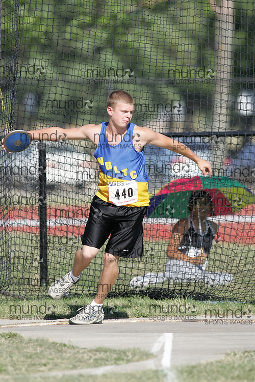 Jordan Scott competing in the juvenile boys discus at the 2007 OTFA Supermeet II. The Ontario Track and Field Association Bantam-Midget-Juvenile Championships were held in Toronto from August 3rd to 5th.