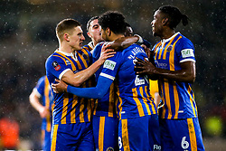 Josh Laurent of Shrewsbury Town celebrates with teammates after scoring a goal to make it 2-1 - Mandatory by-line: Robbie Stephenson/JMP - 05/02/2019 - FOOTBALL - Molineux - Wolverhampton, England - Wolverhampton Wanderers v Shrewsbury Town - Emirates FA Cup fourth round replay