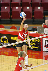 06 October 2007:  Peggy Riessen makes the strike from the rear area of the front court. The Illinois State Redbirds pulled out a photo finish in a match that saw the 4th and 5th games extend into extra point play. Northern Iowa Panthers visited the Illinois State Redbirds at Redbird Arena on the campus of Illinois State University in Normal Illinois.