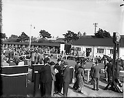 20/09/1955<br /> 09/20/1955<br /> 20 September 1955<br /> Goffs September Bloodstock sales at the RDS, Ballsbridge Dublin. Image shows the sales Paddock with horses in the ring and tea room on right.