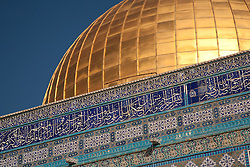 Middle East, Israel, Jerusalem, tiles and golden dome of Dome of the Rock