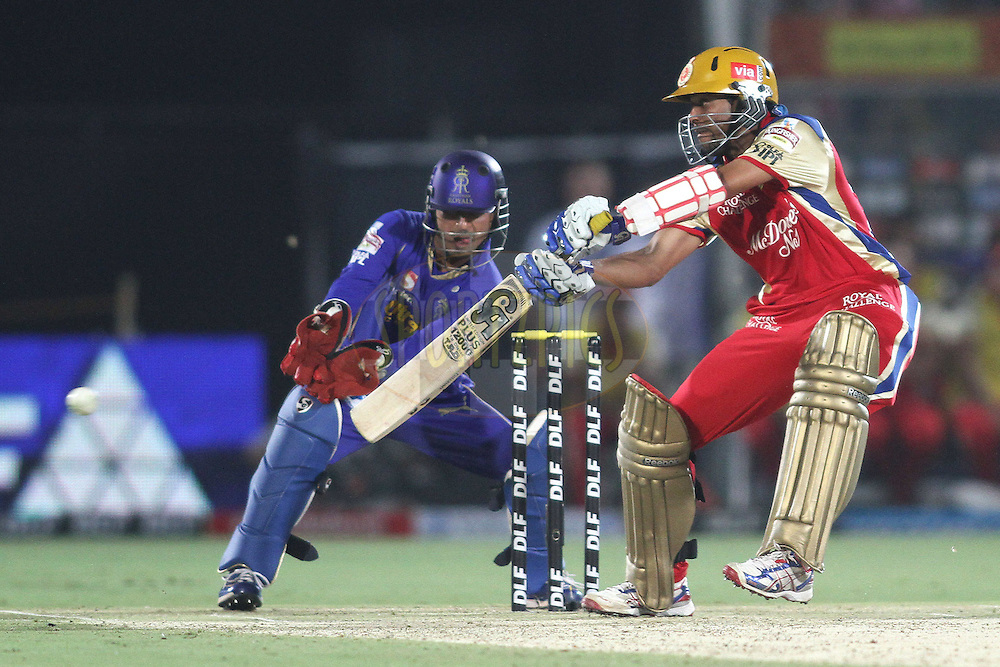 Tilakaratne Dilshan of the Royal Challengers Bangalore cuts a delivery square during match 30 of the the Indian Premier League (IPL) 2012  between The Rajasthan Royals and the Royal Challengers Bangalore held at the Sawai Mansingh Stadium in Jaipur on the 23rd April 2012..Photo by Shaun Roy/IPL/SPORTZPICS