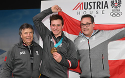 16.02.2018, Austria House, Pyeongchang, KOR, PyeongChang 2018, Medaillenfeier, im Bild Peter Schröcksnadel, Matthias Mayer, Heinz Christian Strache // during a medal celebration of the Pyeongchang 2018 Winter Olympic Games at the Austria House in Pyeongchang, South Korea on 2018/02/16. EXPA Pictures © 2018, PhotoCredit: EXPA/ Erich Spiess