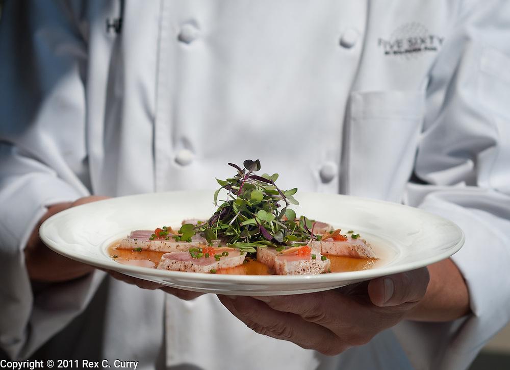Albacore tuna shashimi, wtih garlic chips at Wolfgang Puck's Five Sixty in Dallas, Tx....