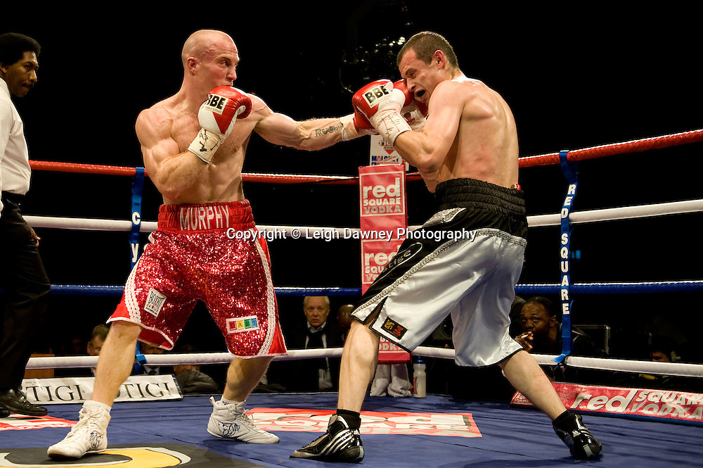 Ben Murphy (red shorts) defeats defeats Lee Cook at Brentwood Centre 22nd January 2010, Frank Maloney Promotions,Credit: © Leigh Dawney Photography