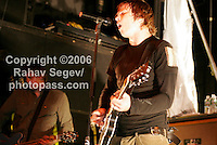 Angels and Airwaves performing The Bowery Ballroom on May 15, 2006. .Tom Delonge lead vocals and guitar, black shirt.David Kennedy on guitar, no vocals.