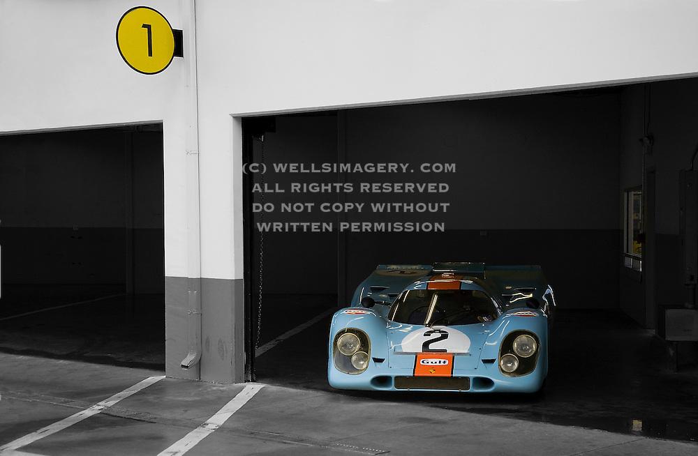 Auto Cinema from Automotive Car Photographer Randy Wells, Image of the Rennsport Reunion III at Daytona International Speedway, Daytona, Florida, American Southeast,  Gulf Porsche 917 K