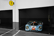 Auto Cinema from Automotive Car Photographer Randy Wells, Image of the Rennsport Reunion III at Daytona International Speedway, Daytona, Florida, American Southeast,  Gulf Porsche 917 K