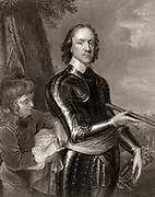 Oliver Cromwell (1559-1658) English soldier and statesman. Leading Parliamentarian in the English Civil Wars. Lord Protector of England (1653-1658). Cromwell in armour holding a field marshal's baton.  Engraving from 'Portraits of Illustrious Personages of Great Britain' by Edmund Lodge (London, 1840).