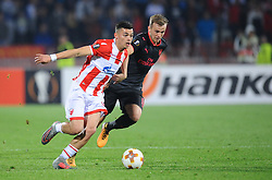 Nemanja Radonjic of Crvena Zvezda vs Rob Holding of Arsenal during football match between NK Crvena Zvezda Beograd and Arsenal FC in Group H of UEFA Europa League 2017/18, on October 19, 2017 in Stadion Rajko Mitic, Belgrade, Serbia. Photo by Nebojsa Parausic / Sportida