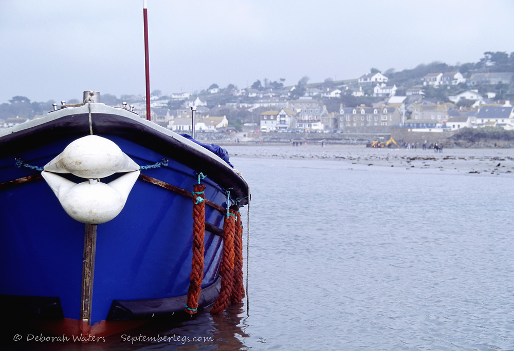 Boat with Fender Shaped  Like Lips Blowing a Kiss, Marazion Beach from St Michael's Mount, Cornwall, England