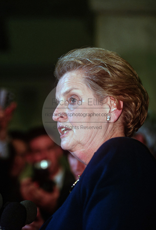 Secretary of State Madeleine Albright during a event at the White House February 25, 1998 in Washington, DC.