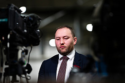 Edinburgh, Scotland, UK. 12th December 2019. Scottish Labour's Ian Murray MP  East waits before TV interview at Parliamentary General Election Count at the Royal Highland Centre in Edinburgh. Iain Masterton/Alamy Live News