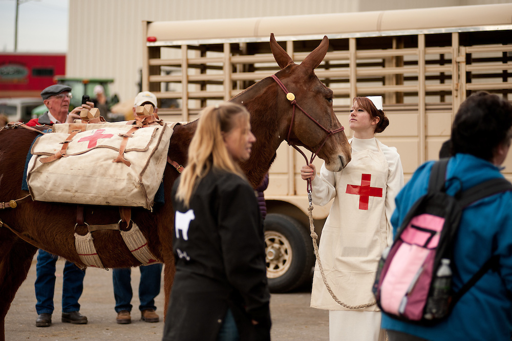 Taylor Moya in costume as a medivac nurse.  Moya and her friends, from Keensburg in central Colorado, entered in a mule costume class competition - with points for authenticity - at the National Western Stock Show.