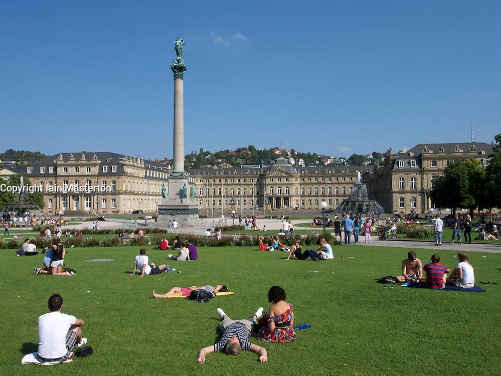 Busy summer afternoon on Schlossplatz in Stuttgart in Germany