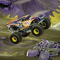 War Wizard driven by Randy Moore is seen during the Monster Jam big truck event at the Citrus Bowl in Orlando, Florida on Saturday, January 25, 2014. (AP Photo/Alex Menendez)