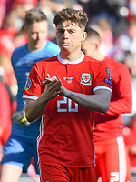 Football - 2018 / 2019 Euro Championship 2020 qualifying round. Wales v SLOVAKIA <br /> <br /> Daniel James of Wales celebrates victory<br /> at Cardiff City Stadium<br /> <br /> COLORSPORT/WINSTON BYNORTH