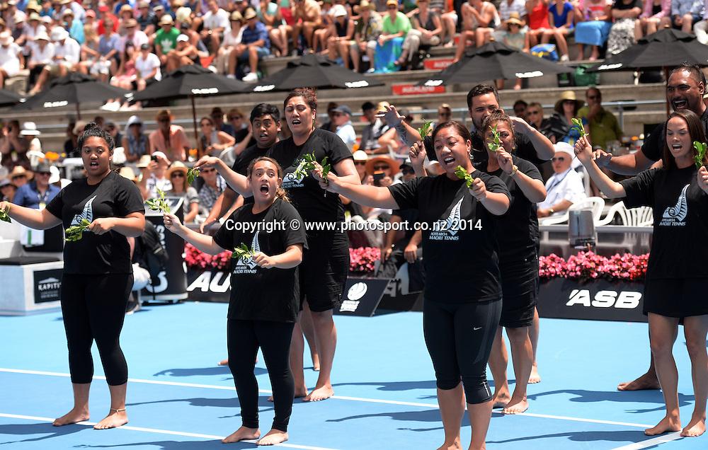 Powhiri. Women's singles final. Ana Ivanovic versus Venus Williams at the ASB Classic Women's International. ASB Tennis Centre, Auckland, New Zealand. Saturday 4 January 2014. Photo: Andrew Cornaga www.photosport.co.nz