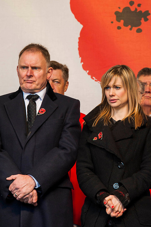 Robert Glenister and Kellie Shirley. A remembrance event in Trafalgar Square included a two minute silence and poppies being placed in the fountains.