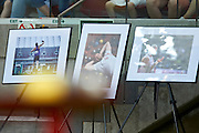 Warsaw, Poland - 2016 August 28: Photo Exhibition of Tomasz Majewski displays during athletics meeting Kamila Skolimowska Memorial 2016 at PGE National Stadium  August 28, 2016 w Warsaw, Poland.<br /> <br /> Adam Nurkiewicz declares that he has no rights to the image of people at the photographs of his authorship.<br /> <br /> Picture also available in RAW (NEF) or TIFF format on special request.<br /> <br /> Any editorial, commercial or promotional use requires written permission from the author of image.<br /> <br /> Mandatory credit:<br /> Photo by &copy; Adam Nurkiewicz
