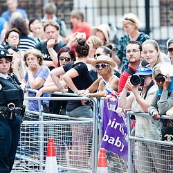 London, UK - 23 July 2013: a crowd gathers outside St Mary's hospital for the birth of the Royal Baby