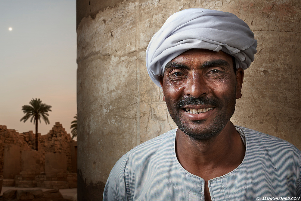 A local caretaker at the Luxor Temple in Egypt.