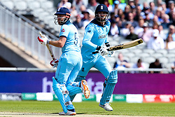 James Vince of England and Jonny Bairstow of England run between the wickets - Mandatory by-line: Robbie Stephenson/JMP - 18/06/2019 - CRICKET- Old Trafford - Manchester, England - England v Afghanistan - ICC Cricket World Cup 2019 group stage