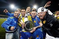Onderwerp/Subject: Cambuur Leeuwarden - Jupiler League<br /> Reklame:  <br /> Club/Team/Country: <br /> Seizoen/Season: 2012/2013<br /> FOTO/PHOTO: F.L.T.R: Sicco BOUWER of Cambuur Leeuwarden and Adnane TIGHADOUINI of Cambuur Leeuwarden and Tim BAKENS of Cambuur Leeuwarden and Tim KEURNTJES of Cambuur Leeuwarden and Goalkeeper Leonard NIENHUIS of Cambuur Leeuwarden celebrating Jupiler League Championship and promotion to Eredivisie with the Trophy. (Photo by PICS UNITED)<br /> <br /> Trefwoorden/Keywords: <br /> #02 #18 $94 &plusmn;1367598354739<br /> Photo- &amp; Copyrights &copy; PICS UNITED <br /> P.O. Box 7164 - 5605 BE  EINDHOVEN (THE NETHERLANDS) <br /> Phone +31 (0)40 296 28 00 <br /> Fax +31 (0) 40 248 47 43 <br /> http://www.pics-united.com <br /> e-mail : sales@pics-united.com (If you would like to raise any issues regarding any aspects of products / service of PICS UNITED) or <br /> e-mail : sales@pics-united.com   <br /> <br /> ATTENTIE: <br /> Publicatie ook bij aanbieding door derden is slechts toegestaan na verkregen toestemming van Pics United. <br /> VOLLEDIGE NAAMSVERMELDING IS VERPLICHT! (&copy; PICS UNITED/Naam Fotograaf, zie veld 4 van de bestandsinfo 'credits') <br /> ATTENTION:  <br /> &copy; Pics United. Reproduction/publication of this photo by any parties is only permitted after authorisation is sought and obtained from  PICS UNITED- THE NETHERLANDS