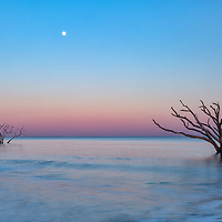 Full moon rising at Boneyard Beach, Botany Bay, on Edisto Island, SC