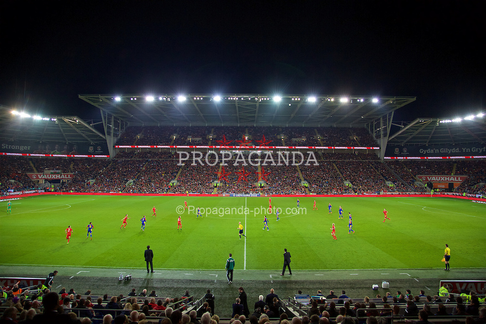 CARDIFF, WALES - Tuesday, October 13, 2015: Wales take on Andorra during the UEFA Euro 2016 qualifying Group B match at the Cardiff City Stadium. (Pic by David Rawcliffe/Propaganda)