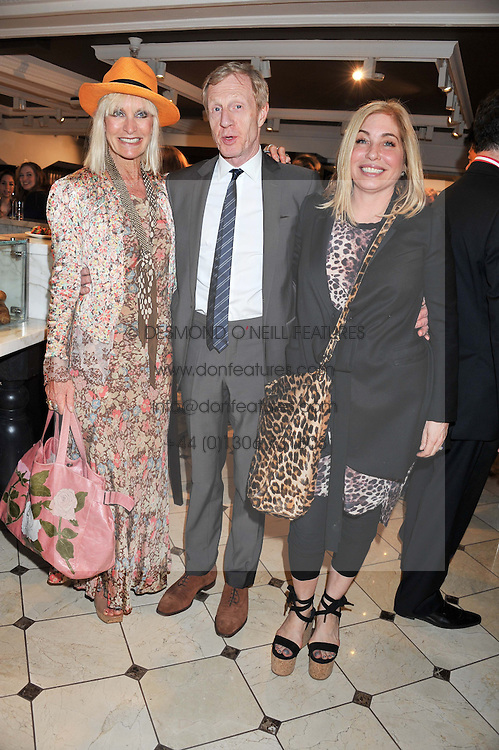 Left to right, VIRGINIA BATES, PHILIP START, BRIX SMITH-START at a party to launch the Godiva Chocolate Cafe at Harrods, London held on 24th May 2012.