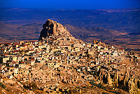 Aerial view of Uchisar Castle (rock fortress) from hot air balloon, Cappadocia, Turkey