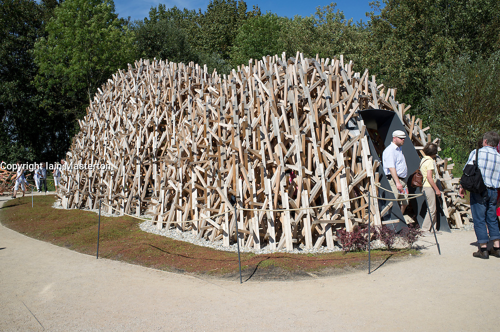 Special exhibit of wooden structure in Diversity of life display at the Federal Horticultural Show or BUGA Bundesgartenschau held in Koblenz Germany 2011