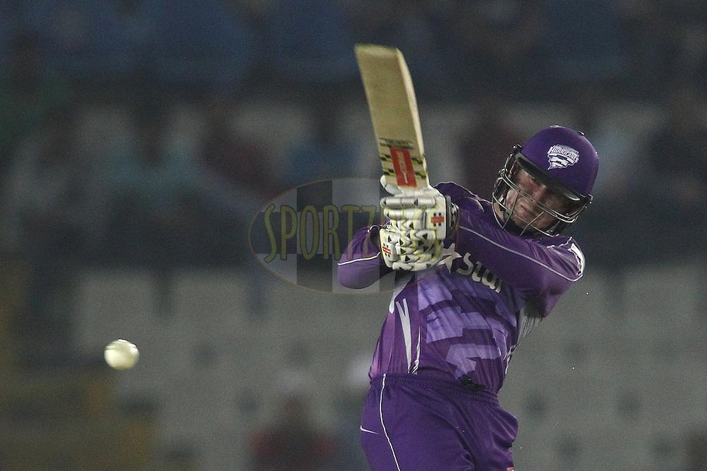 Ben Dunk of the Hobart Hurricanes pulls a delivery through the leg side during match 2 of the Oppo Champions League Twenty20 between the Kings XI Punjab and the Hobart Hurricanes held at the Punjab Cricket Association Stadium, Mohali, India on the 18th September 2014<br /> <br /> Photo by:  Shaun Roy / Sportzpics/ CLT20<br /> <br /> <br /> Image use is subject to the terms and conditions as laid out by the BCCI/ CLT20.  The terms and conditions can be downloaded here:<br /> <br /> http://sportzpics.photoshelter.com/gallery/CLT20-Image-Terms-and-Conditions-2014/G0000IfNJn535VPU/C0000QhhKadWcjYs