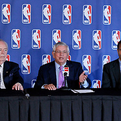 April 16, 2012; New Orleans, LA, USA; New Orleans Hornets and Saints owner Tom Benson along with NBA commissioner David Stern and Louisiana Governor Bobby Jindal during announcement that the NBA has awarded the 2014 NBA All-Star game to the city of New Orleans during a press conference at the New Orleans Arena.   Mandatory Credit: Derick E. Hingle-US PRESSWIRE
