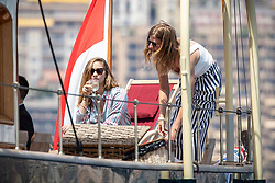 Pierre Casiraghi's wife Beatrice Borromeo attends from the royal family yacht Pacha III the depart of Monaco Globe Series - Imoca World Championship. Monaco on June 03, 2018. Photo by Marco Piovanotto/ABACAPRESS.COM