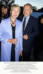 PETER & VIRGINIA BOTTOMLEY both are MPs, at a party in London on 12th September 2003.PMJ 67