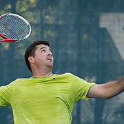 August 15, 2014, New Haven, CT:<br /> Jesse Witten hits a forehand during a US Open National Playoff match against Ilia Shatashvili during the 2014 Connecticut Open at the Yale University Tennis Center in New Haven, Connecticut Friday, August 15, 2014.<br /> (Photo by Billie Weiss/Connecticut Open)