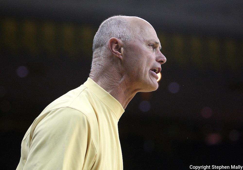 26 JANUARY 2009: Michigan head coach Kevin Borseth gives instructions to his team during the first half of an NCAA women's college basketball game Monday, Jan. 26, 2009, at Carver-Hawkeye Arena in Iowa City, Iowa. Iowa defeated Michigan 77-69.