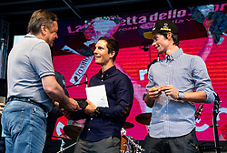 Zoran Jankovic, Jan Polanc and Primoz Roglic during reception of best Slovenian riders after Giro d'Italia 2019 and Tour of California 2019, on June 3rd, 2019, in Mestni trg, Ljubljana, Slovenia. Photo by Vid Ponikvar / Sportida